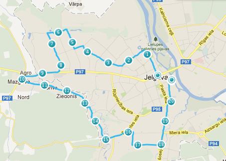 Jelgavas pusmaratona distance 2012.gadā