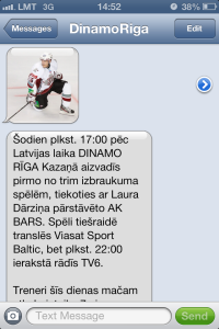 Rigas Mobilais Dinamo sms mms sanemsana